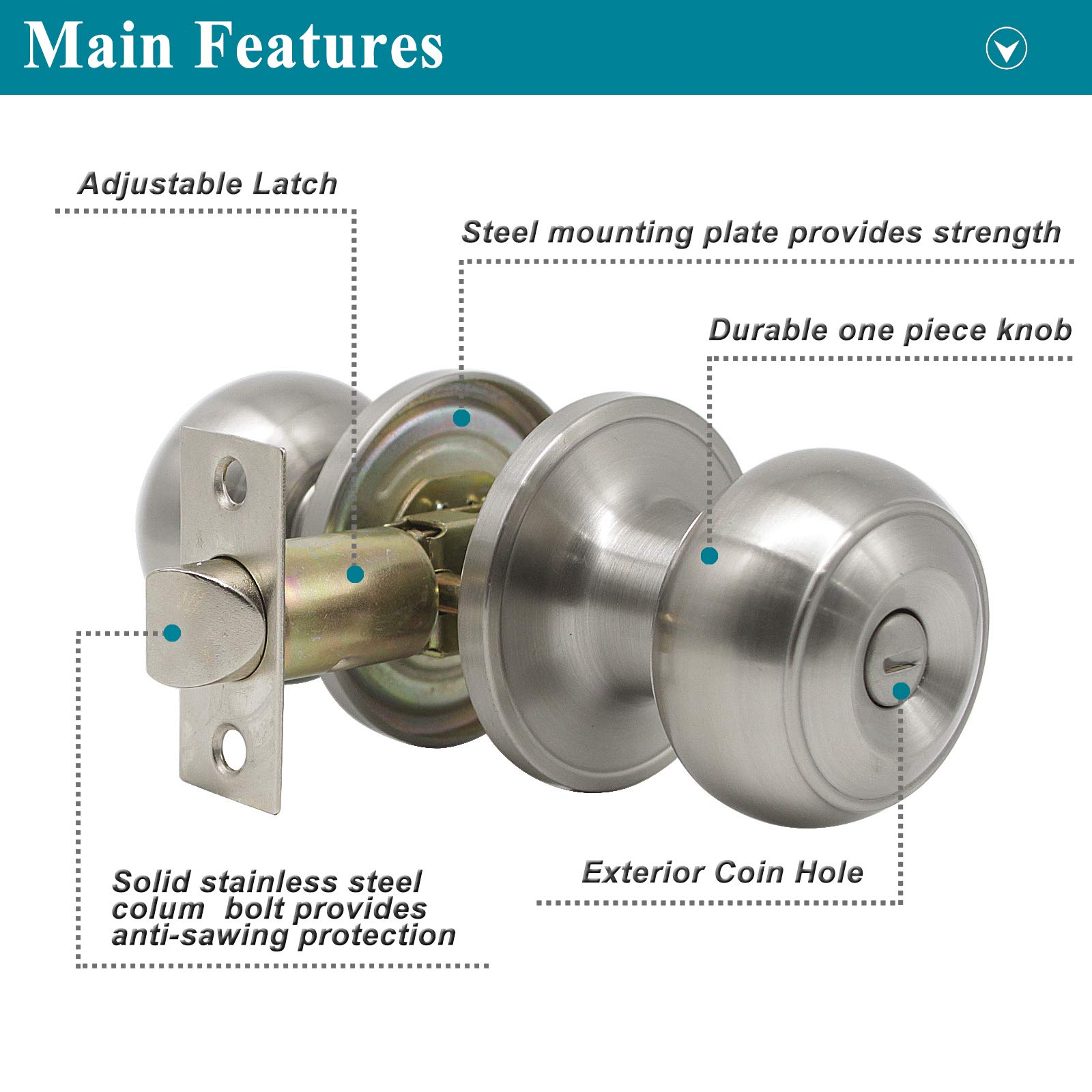 Probrico Privacy Interior Door Knobs Bed and Bath Handle Levers Keyless Brushed Nickel Lockset 6 Pack by Probrico (Image #4)