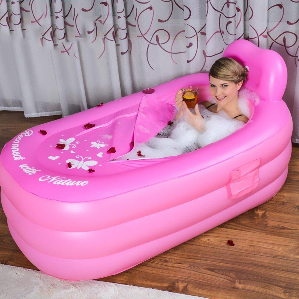 Inflatable Bath Home rosa Gonfiabile di plastica per la casa Vasca da Bagno per Adulti Vasca da Bagno rosa (colore  rosa, Dimensioni  130  80  70CM)