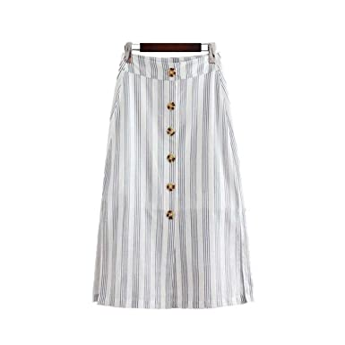 faa0c26e4a1c Striped midi Skirt Buttons Side Split A line Ladies Casual Sweet mid Calf  Skirts BA018 as