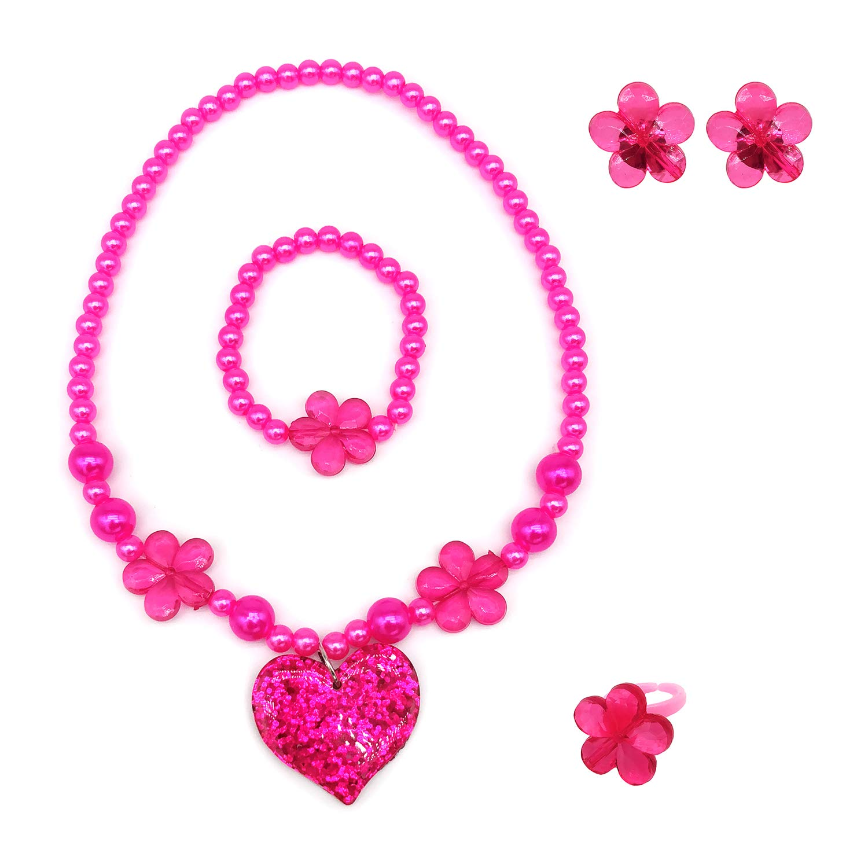 Necklace Bracelet Clip on Earrings Value Set Heart Sunglasses Elesa Miracle Kids Little Girl Toy Playset Sequins Handbag