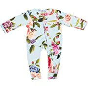 Posh Peanut One Piece Romper Silky Soft & Breathable - Premium Knit Infant Clothing - Bamboo Viscose (Country Rose, 9-12 Months)