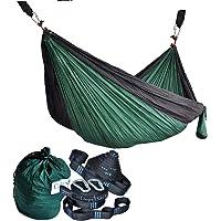 CUTEQUEEN TRADING Parachute Nylon Fabric Hammock With Tree straps;Color: Dark green/Black