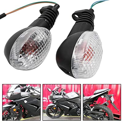 Motoparty For KAWASAKI EX250R NINJA 250R KLX250S KLX250SF VN650 Vulcan S Front/Rear Turn Signal Indicator Light Blinker Lamp Motorcycle,Transparent Shell: Automotive