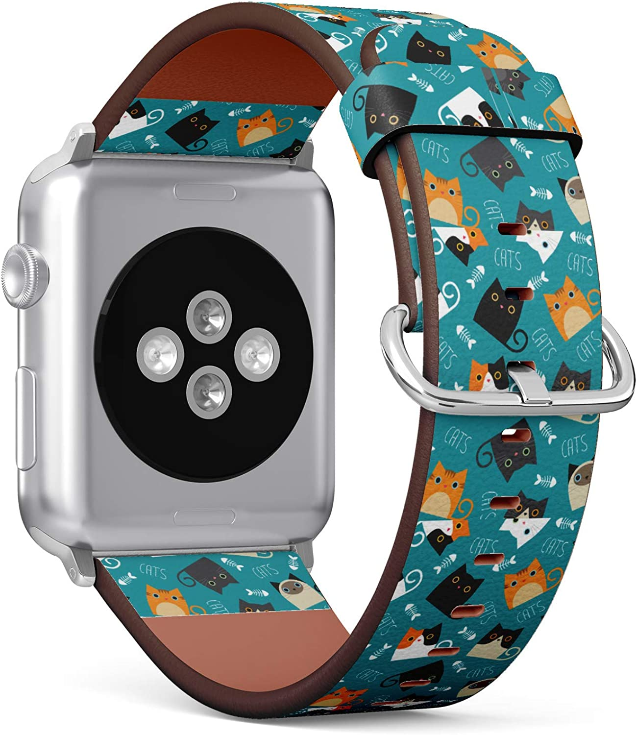 (Pattern of Cats and Fishbone in Teal Background) Patterned Leather Wristband Strap for Apple Watch Series 4/3/2/1 gen,Replacement for iWatch 38mm / 40mm Bands