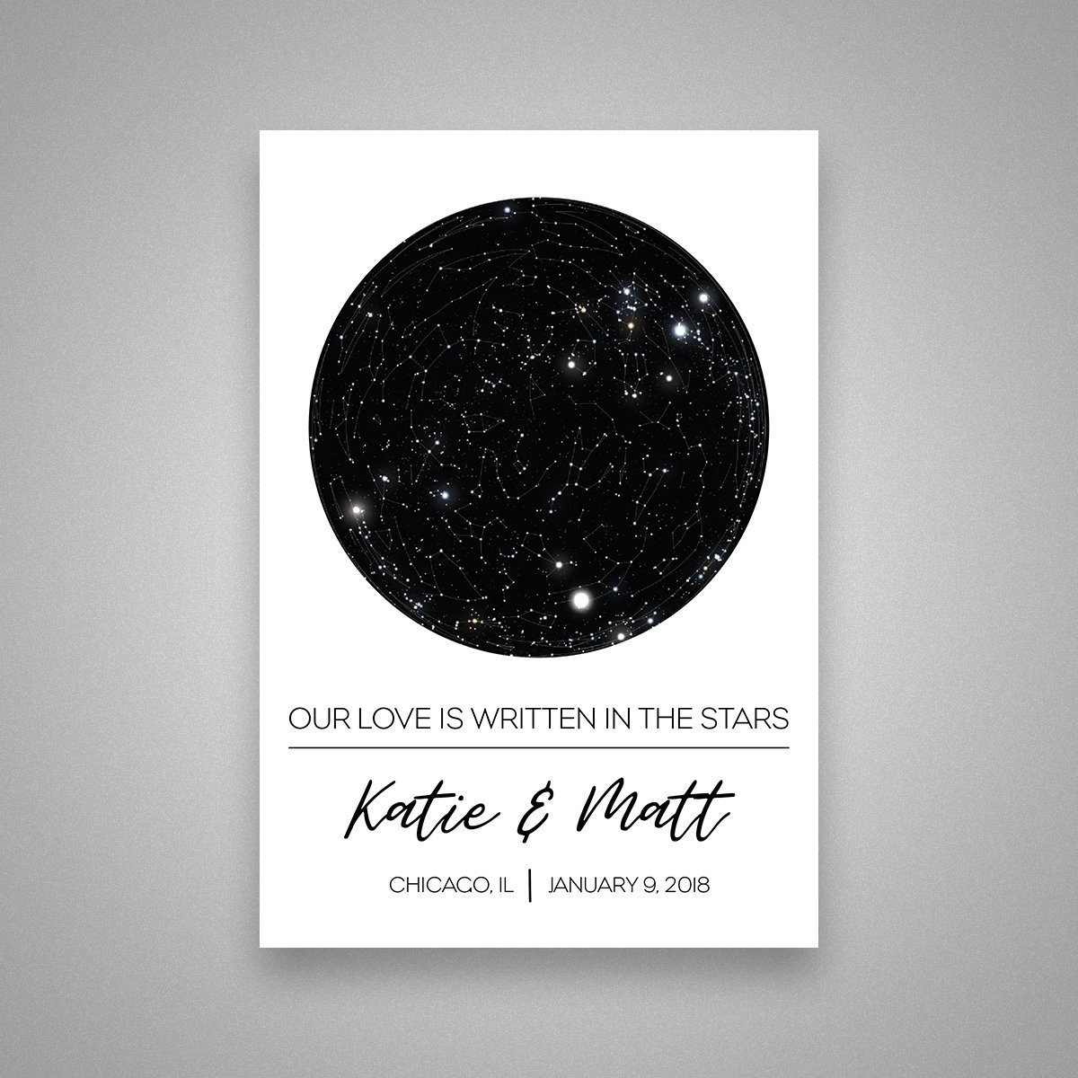 Custom Personalized Star Constellation Map Chart Choose Your Occasion Engagement Anniversary Birthday Baby Present Cool Gift Idea Night Sky