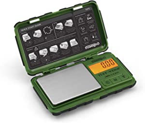Truweigh - TUFF-WEIGH Digital Mini Scale - (100g x 0.01g - Green/Black) and Long Lasting Portable Grams Scale - Kitchen Scale - Food Scale - Postal Scale - Herb Scale - Pocket Scale