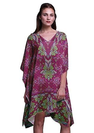 ab3323dc0dcb Phagun Pink Floral Ethnic Short Caftan Midi Dress Beach Swimwear Cover up Womens  Kaftan-S-L