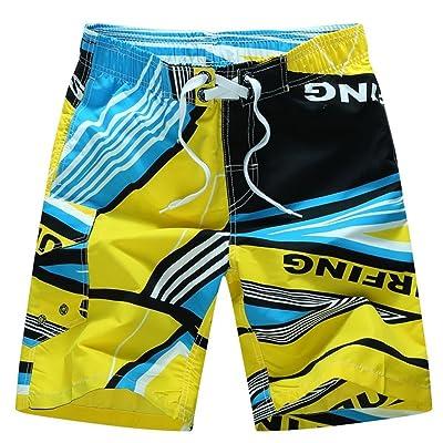 Challyhope Men's Casual Printed Sports Shorts Cargo Board Shorts Beach Swim Trunks