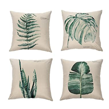 Ogisele Leaf Theme Decorative Throw Pillow Case 18 x18  Set of 4(Plants)