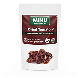 MiNU Organic Sun Dried Tomatoes Unsalted (16 oz (1 lb) #1 Paleo snack, MiNU Mindful Nutrition, No Sulfur, No Added Sugar, Dried, Superfood, Raw, Paleo, Vegan, NonGMO, Gluten Free gomix