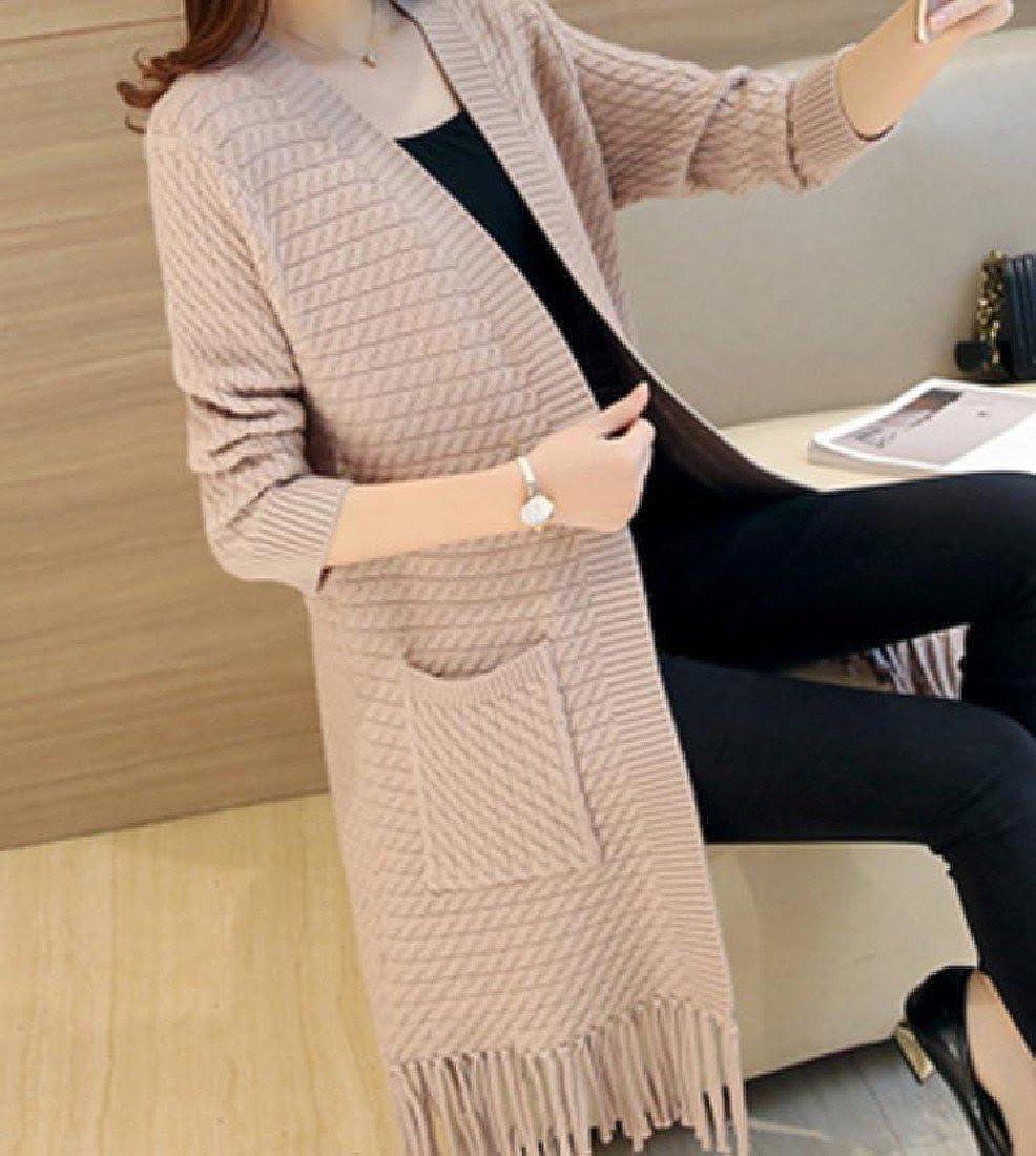 Godeyes Women Tassel Swimsuits Long-Sleeved Modern Thick Cardigan Sweater