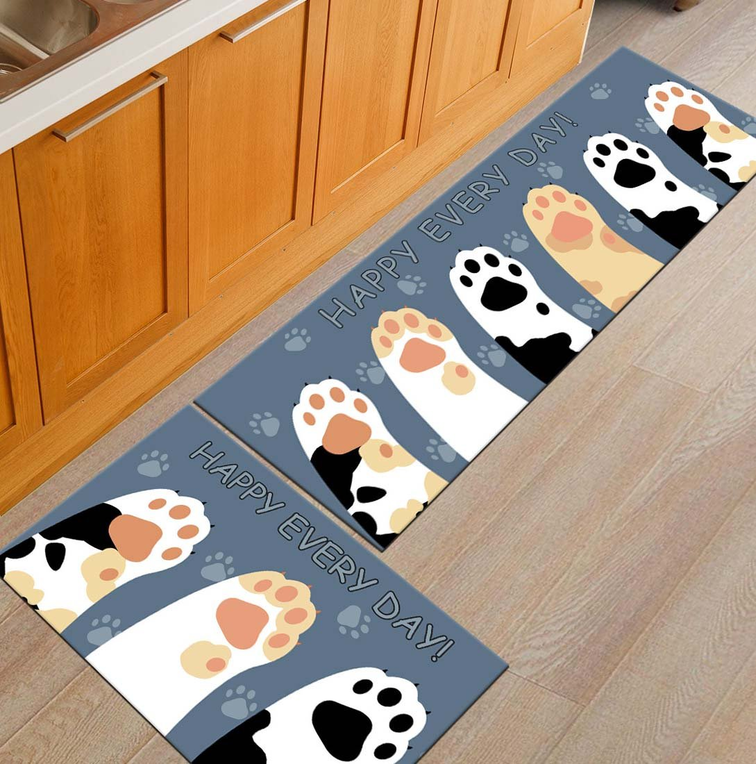 Z&L Home Non-Slip Kitchen Mats and Rugs Funny Cat Paw Indoor Floor Area Rug Low Profile Absorbent Runner for Home Bathroom Bath Bedroom-Happy Every Day by Z&L Home