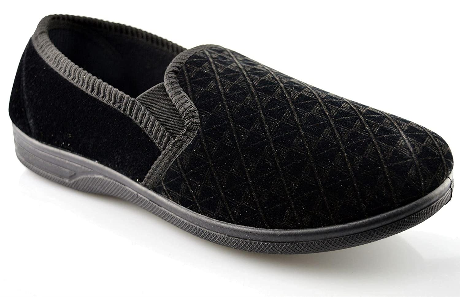 Twin Elasticated Side Gussets Sizes 3-8 Womens Velour Upper Ladies Slippers