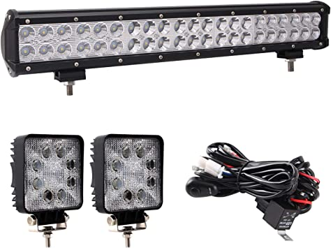 Amazon Com Glotech Light Bar 20 126w Cree Led Light Bar Waterproof Spot Flood Combo Beam Driving Off Road Lights And 2pcs 4 Led Pods With 10ft 12v Wiring Harness For Truck Suv