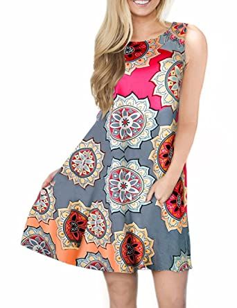 1028a6f69 Sanifer Women's Casual Summer Floral Sundresses Sleeveless Tunic Dresses  Tank Dresses with Pockets (Small,