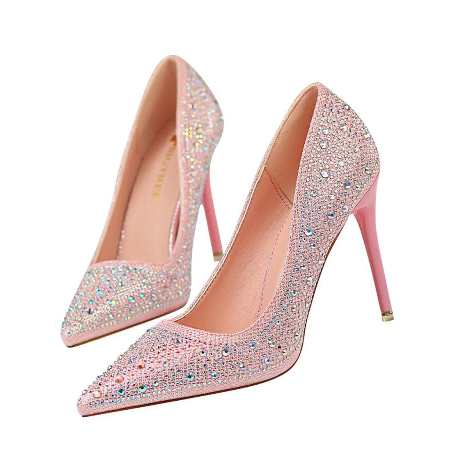 Pink coolemon 2019 Spring Wedding Party Women Pumps shoes Woman High Heels Female Crystal Bling Nightclub Stilettos Pointed Toe shoes