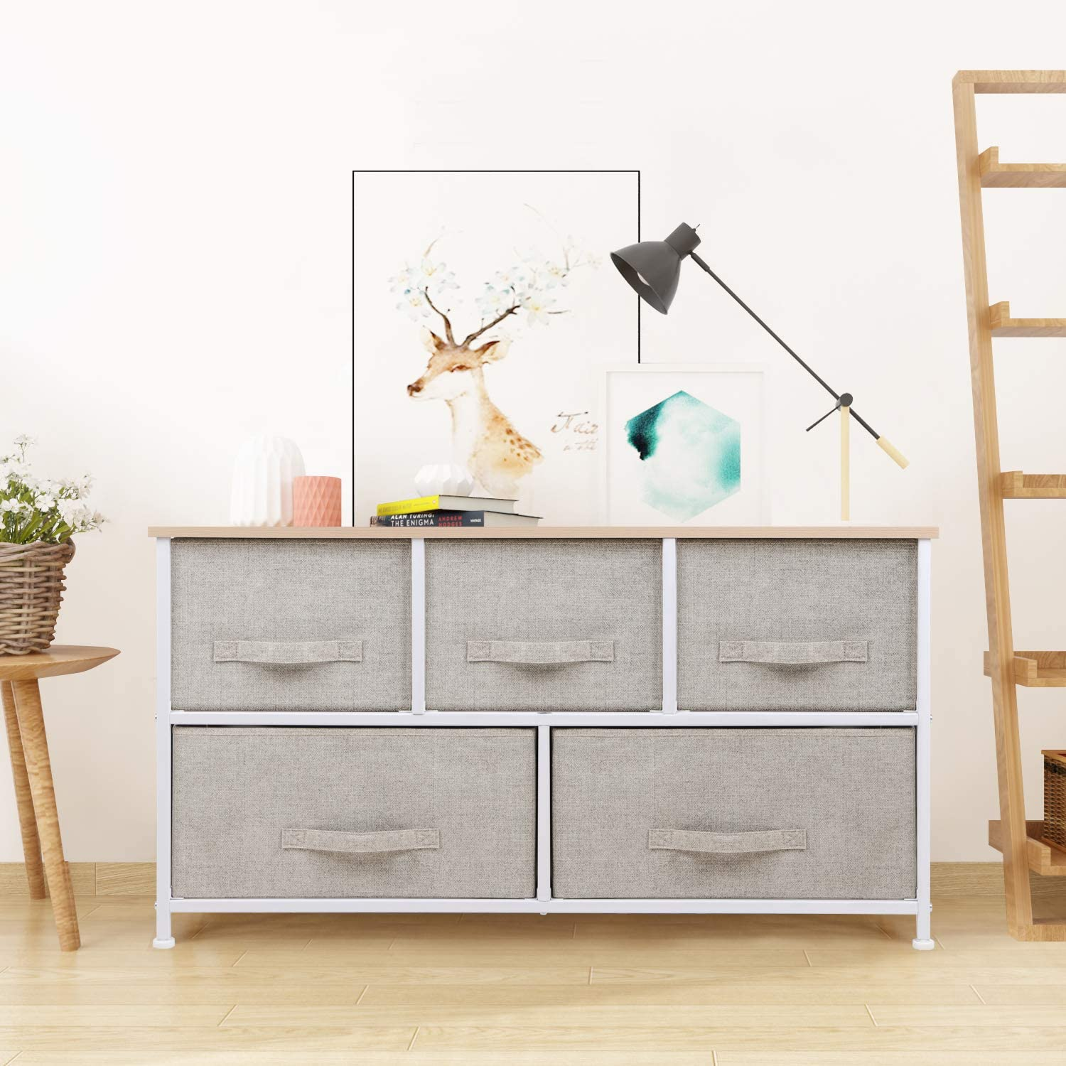 Unit Storage Cabinet Storage Chest for Bedroom,Living room jeffordoutlet Beige Chest of Drawers Non-Woven Fabric Closet Cloth Organizer Basket