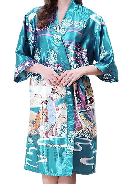 Simgahuva Athnic Womens Kimono Manga Corta Ropa De Dormir Batas Batas De Seda: Amazon.es: Ropa y accesorios