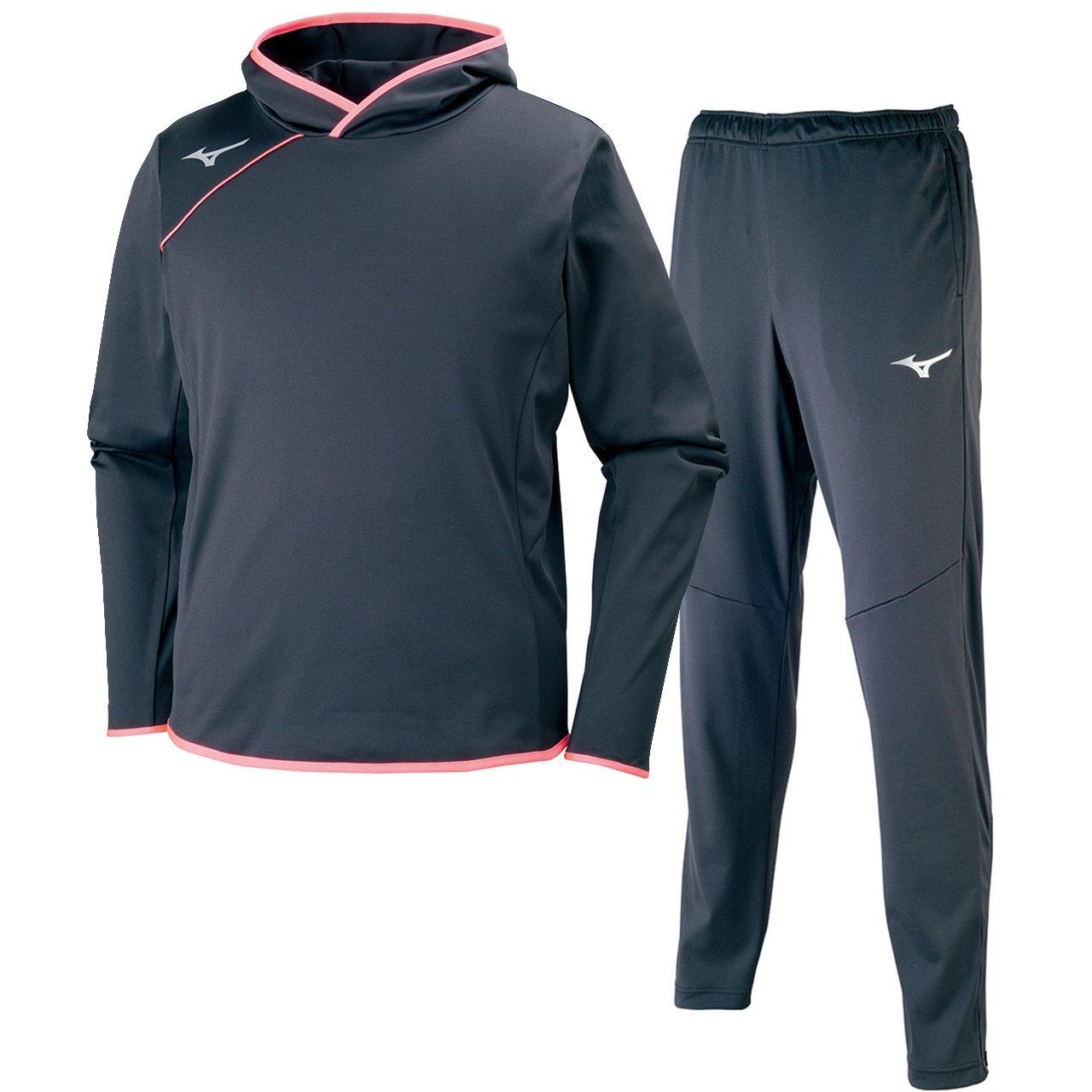 ミズノ(MIZUNO) Softストレッチシャツ&ストレッチパンツ 上下セット(ブラックピンクグロー/ブラックシルバー) V2ME7521-96-V2MF7520-90 ブラックピンクグロー×ブラックS L