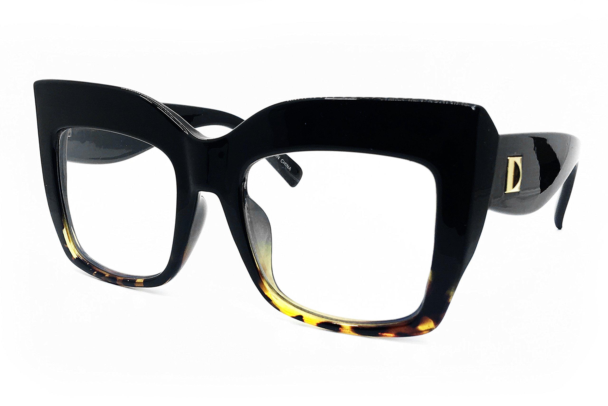 O2 Eyewear SA157 Premium Oversize XXL Women Cateye Brand Designer Square Style Thick Frame Shades Tilda Shadow Fashion Clear Sunglasses (BLACK BROWN/CLEAR, 57)