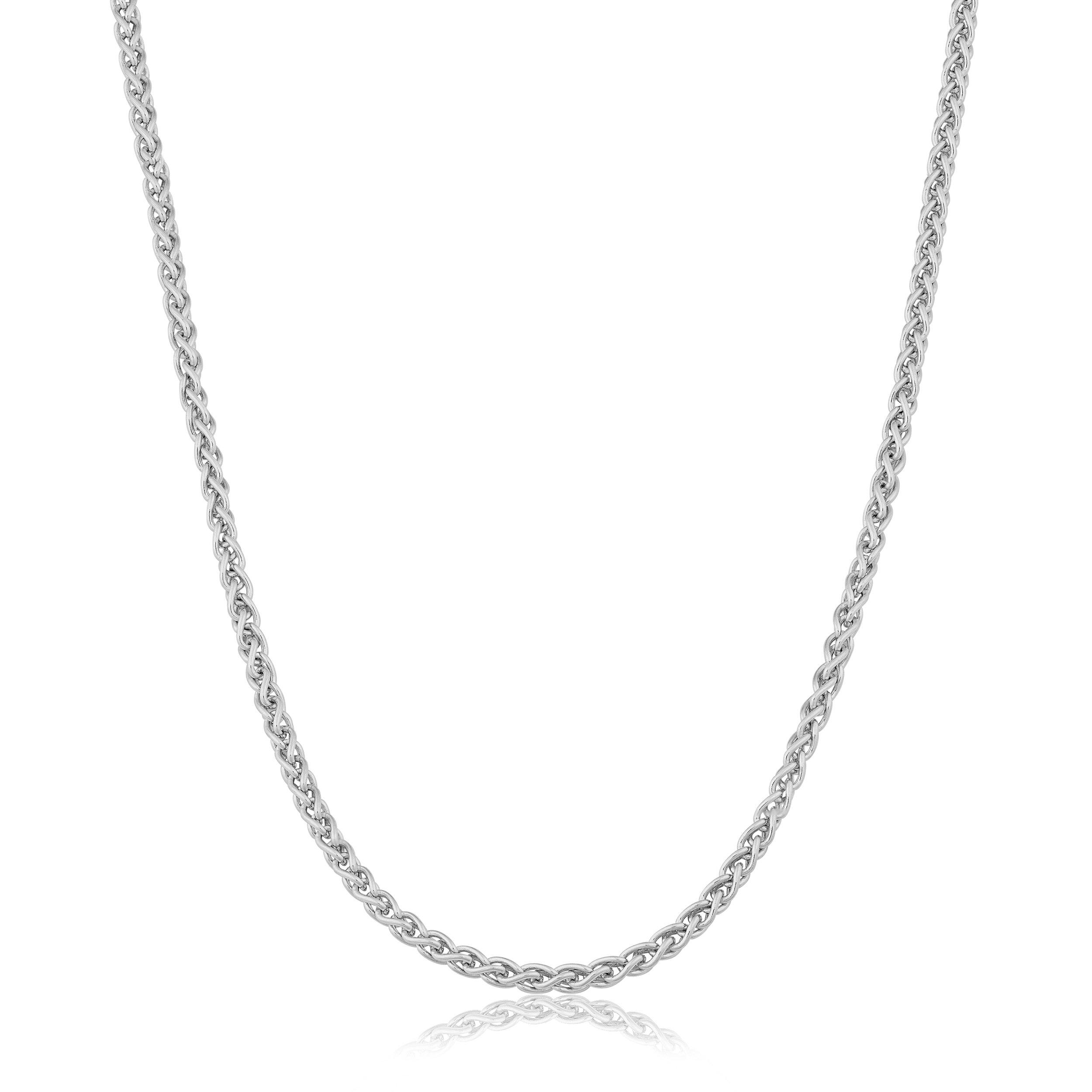 Kooljewelry Sterling Silver 1.5-mm Round Wheat Chain (24 Inch)