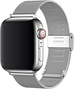 Replacement Bands Compatible with Apple Watch 44mm 42mm 40mm 38mm, Stainless Steel Watch Band for iWatch 6 SE 5 4 3 2 1 (40mm/38mm, Silver)