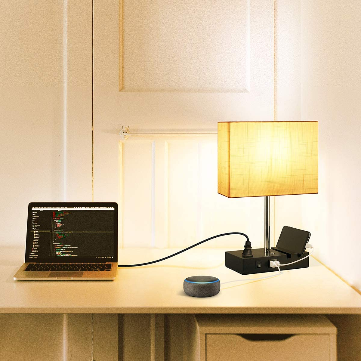 Touch Control USB Table Lamp Suitable for Nightstand Bedroom Lamp White Shade 3-Way Dimmable Table Lamp with 2 Useful USB Ports /& One Outlet 2700K 800LM Bulb Included with the Modern Table Lamp