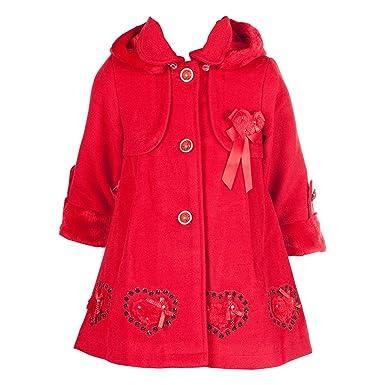 on sale afaab 8d418 BIMARO Mädchen Mantel Lilly rot Jacke Kindermantel Kapuze gefüttert  festlich Weihnachten Winter