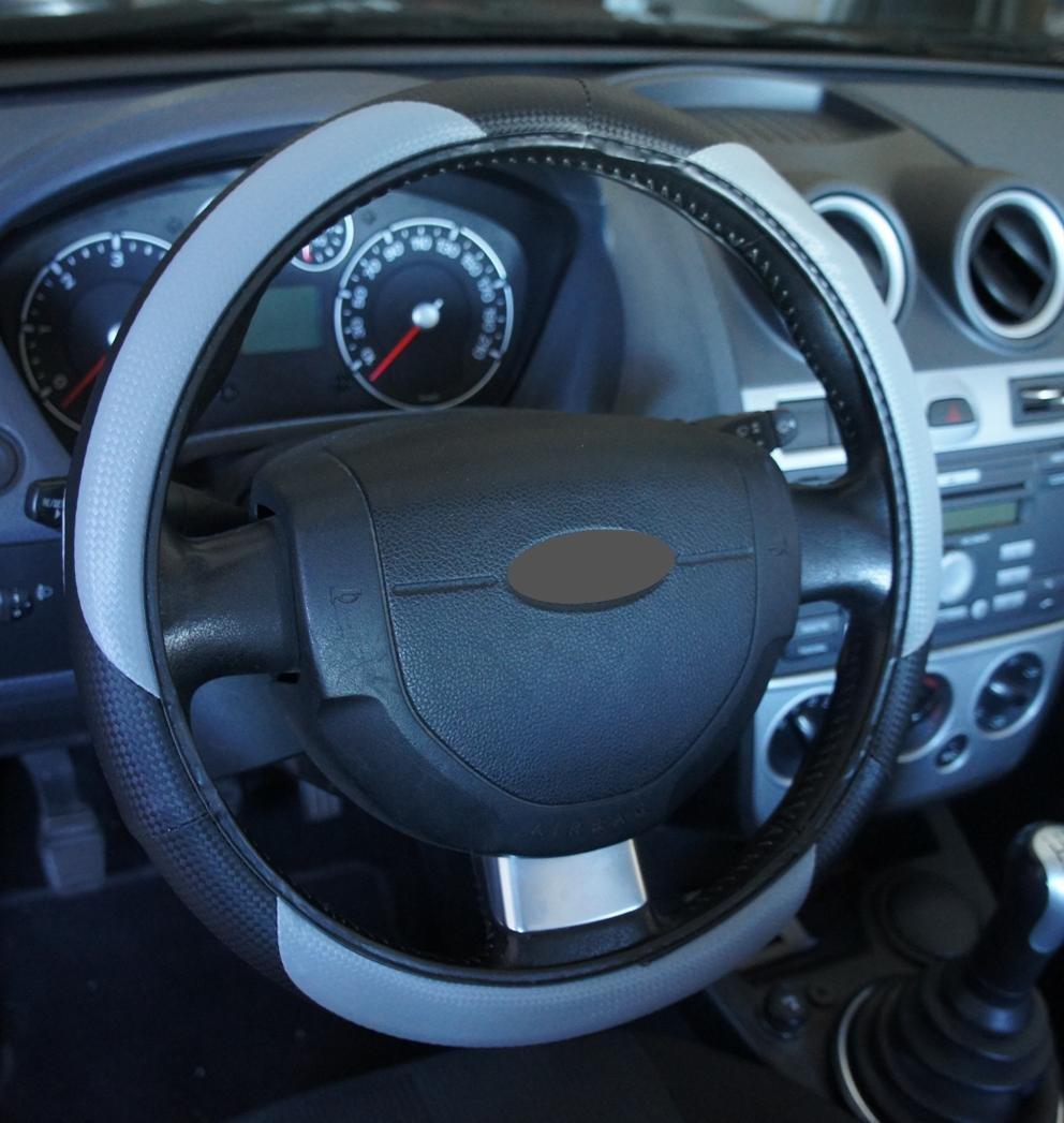 Ricambi Auto Europa - Funda para volante de coche, de color negro y gris, de excelente calidad, universal, antideslizante, de 37-39 cm de diámetro.