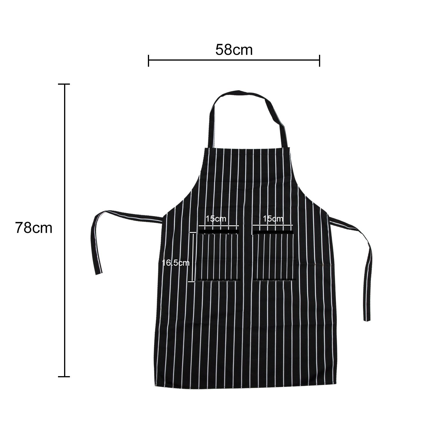 JUSTIME Chefs Apron,Cooking Kitchen Aprons with 2 Pockets,Unisex Bib Apron for Cooks Restaurant Bistro BBQ-Black/White Pinstripe