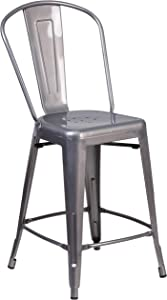 Flash Furniture 24'' High Clear Coated Indoor Counter Height Stool with Back