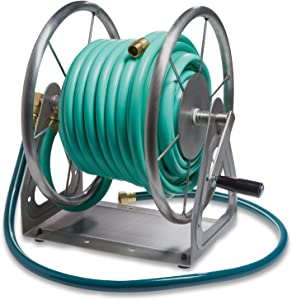 Liberty Garden 703-S2 Multi-Purpose Steel Wall and Floor Mount Garden Hose Reel, Holds 200-Feet of 5/8-Inch Hose - Stainless