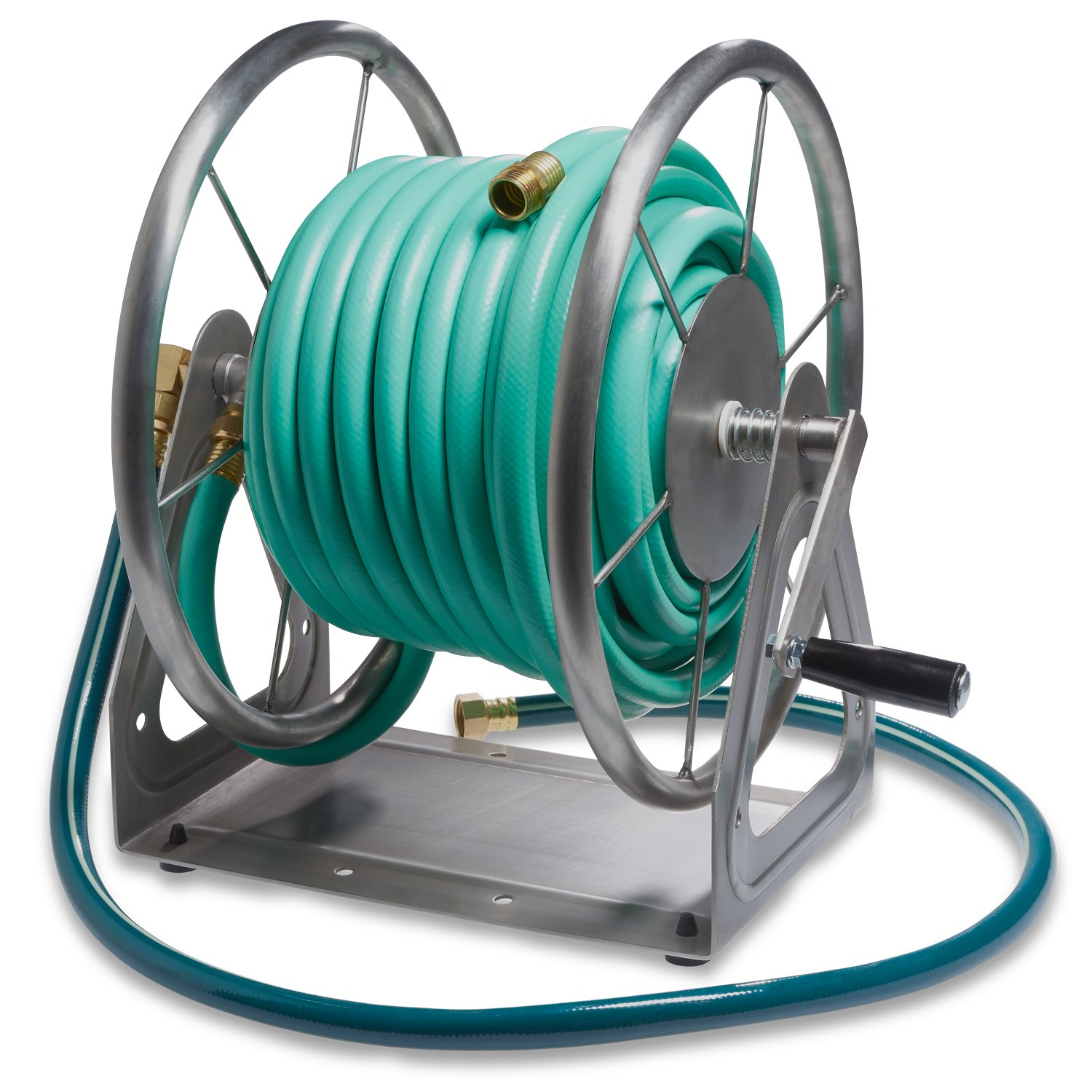 Liberty Garden Products 703-S2 Multi-Purpose Steel Wall and Floor Mount Garden Hose Reel, Holds 200-Feet of 5/8-Inch Hose - Stainless by Liberty Garden Products