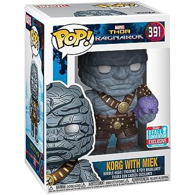 Funko 30763 POP Bobble: Marvel: Thor Ragnarok: Korg w/Miek, Multi, Standard: Toys & Games