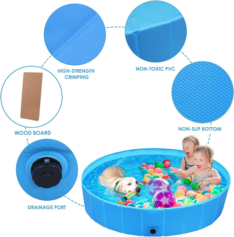 piscina para perros de color azul marca femor, con tapon de desagüe