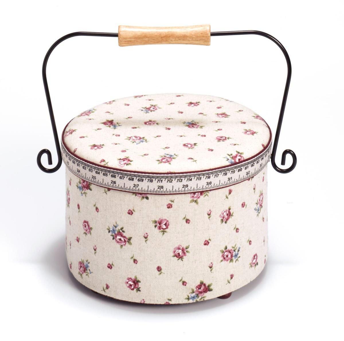 Prym Delicate Country Rose Print Tape Measure and Trim Sewing Basket with Handle, Linen/Metal/Wood, Ivory, Medium PRYM_612140-1