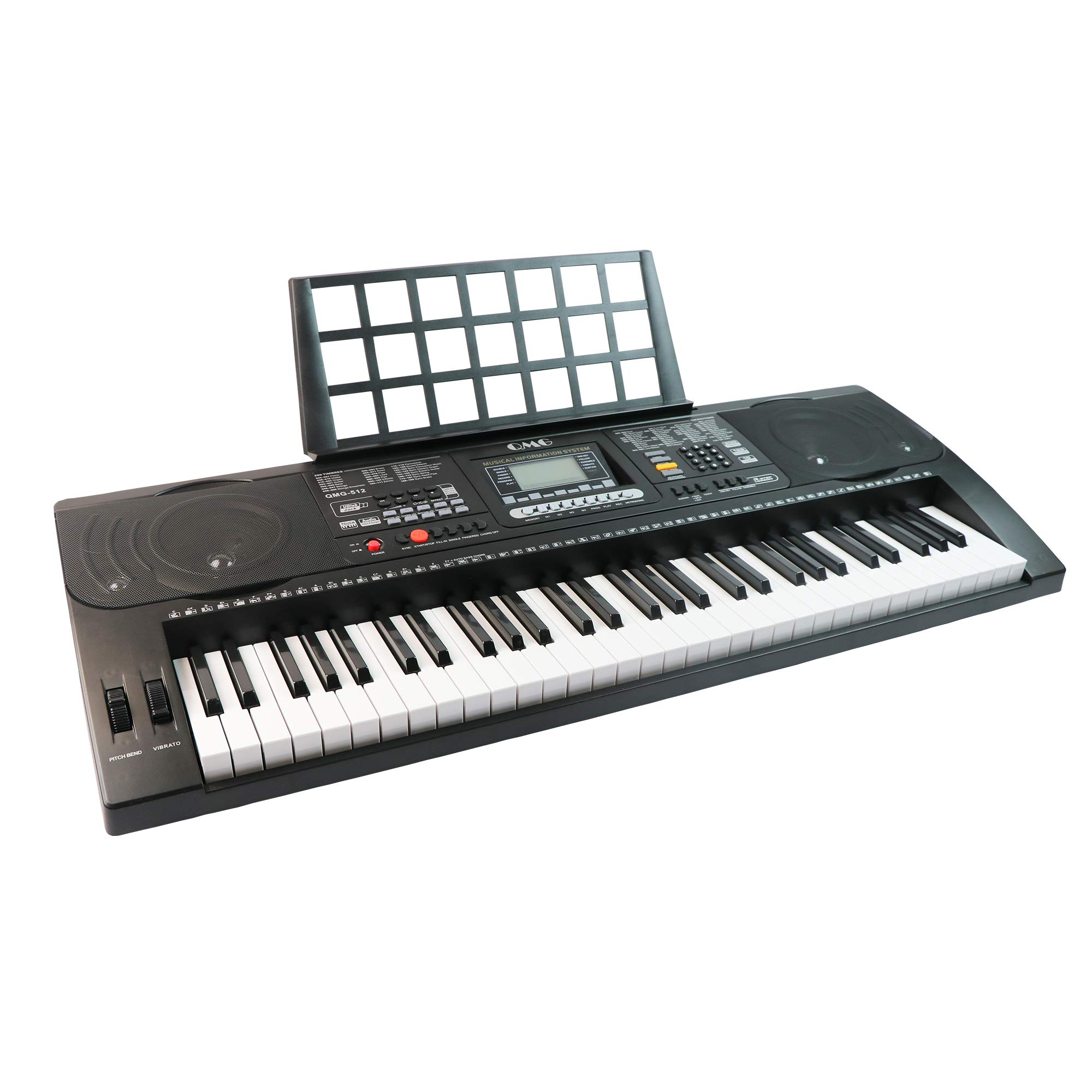 QMG 61 Key Digital Electronic Keyboard Piano with Dust Cover, Piano Sticker, and Power Supply - The Complete Portable Electronic Musical Instrument Package