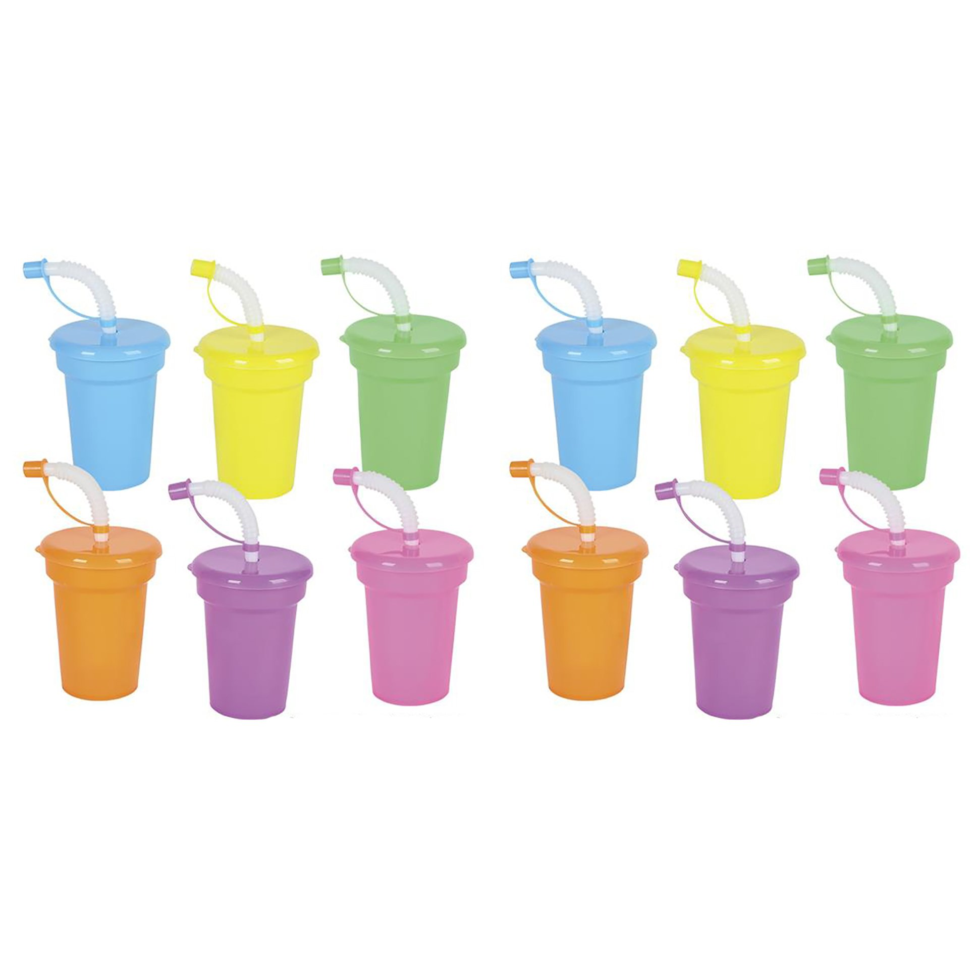 Kicko Neon Sipper Cups – 5.5 Inches Cool and Fun Colorful Neon Spill-Proof Cup with Lid and Straw (Pack of 12) – Great for School Events, Theme Parties, and Birthday Celebrations – Party Supplies