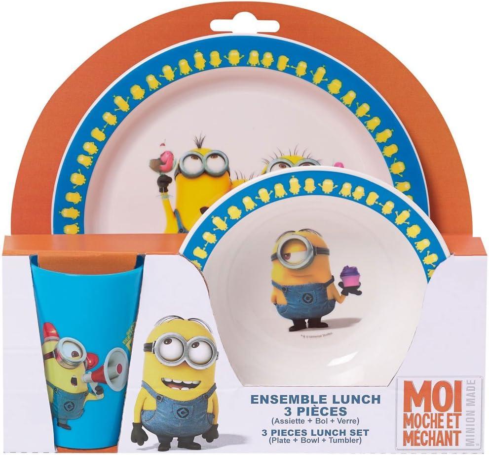 LES MINIONS // MOI MOCHE ET M/ÉCHANT Ensemble de repas pour enfant comprenant un verre Fun House une assiette et un  bol micro-ondable 005084