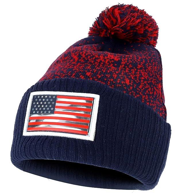 2529419b06a0 Armycrew USA Pom Pom Stylish Acrylic Cuff Winter Beanie Hat - Navy Red3