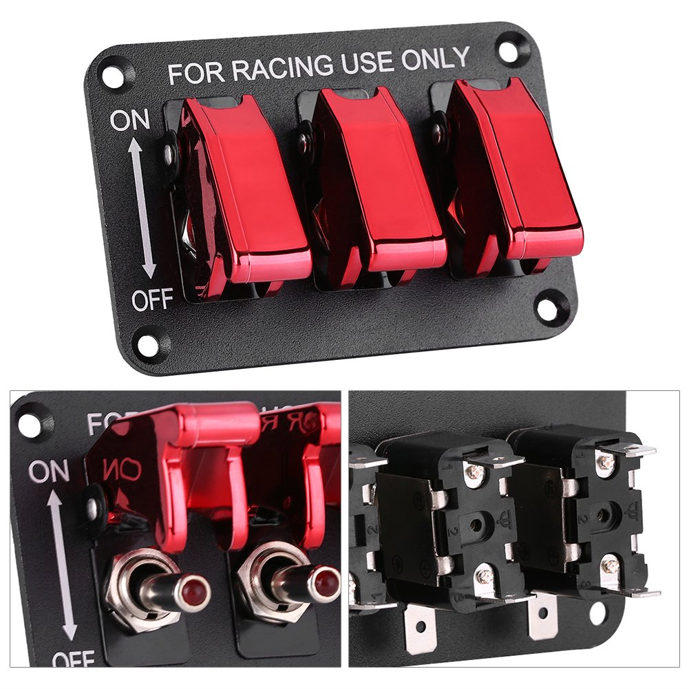 Qiilu 12V 3 Group Toggle Switch Panel for Racing Car Red