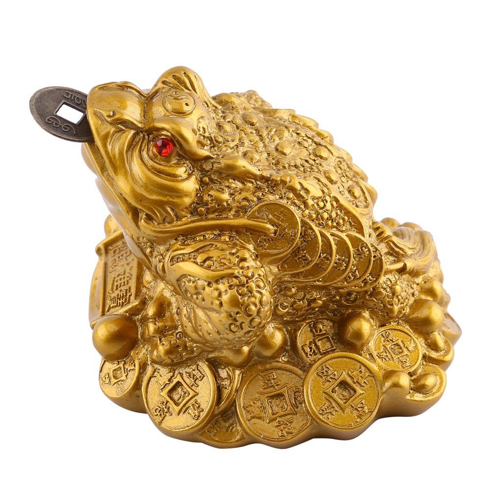Feng Shui Dekoration Gl/ück Geld Frosch//Kr/öte 65/×60/×50mm-messing Feng Shui Kr/öte//Frosch Schatz Becken Statue Mit M/ünze Anziehen Reichtum und Gl/ück