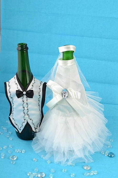 Madeheart Ropa para vestir botellas de cava artesanal trajes de novios 2 piezas: Amazon.es: Hogar