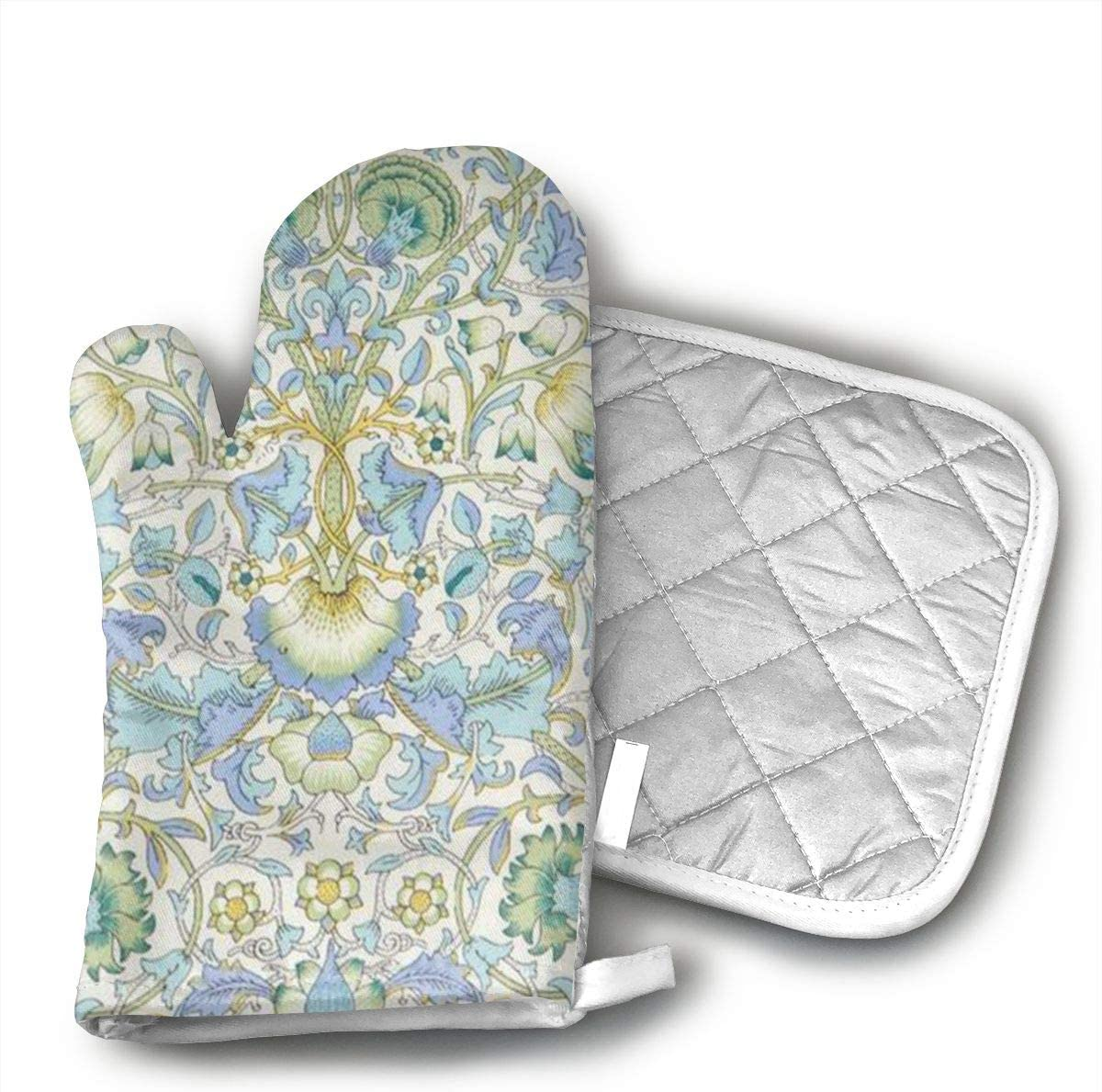 NOT Liberty of London Oven Mitts,Heat Resistant Oven Gloves Insulation Thickening Cotton Gloves Baking Kitchen Cooking Mittens with Soft Inner Lining