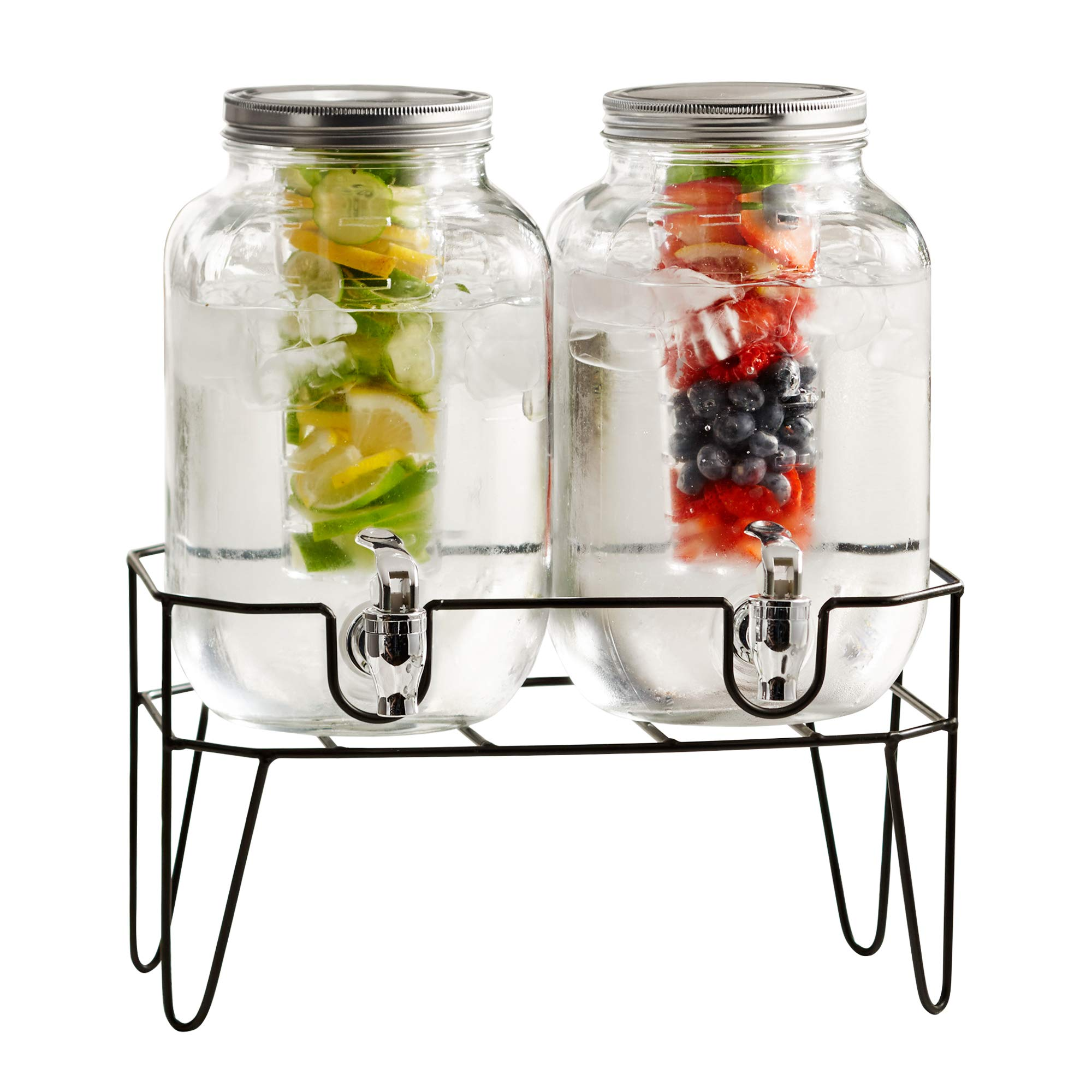 Style Setter Beck 210741-GB 2 Gallon Infuser Glass Beverage Dispenser with Metal Stand and Lid, 8x9x17, Clear (W/Fruit Infuser)