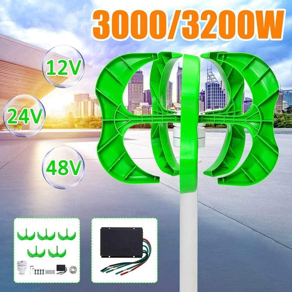 YUYUKUAILAI 300W / 400W Aerogenerador 5-Blade generador de turbina de Viento Linterna 12/24/48 V Eje Vertical de la Calle del hogar Light Controller +,3000w,48V