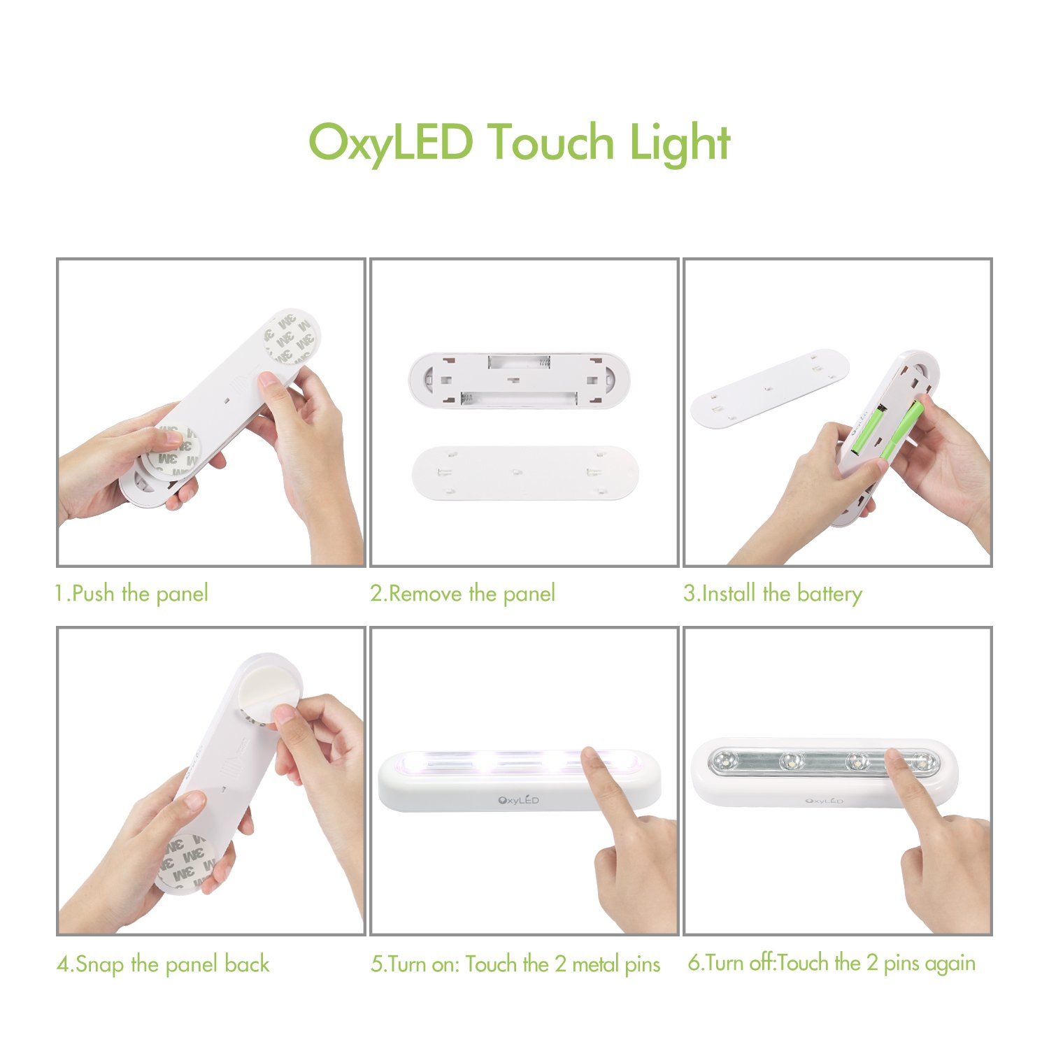 OxyLED Tap Closet Lights, One Touch Light, Stick-on Anywhere 4-Led Touch Tap Light, Cordless Touch Sensor LED Night Light, Battery Operated Stair Safe Lights, 180° Rotation, 3 Pack by OxyLED (Image #5)