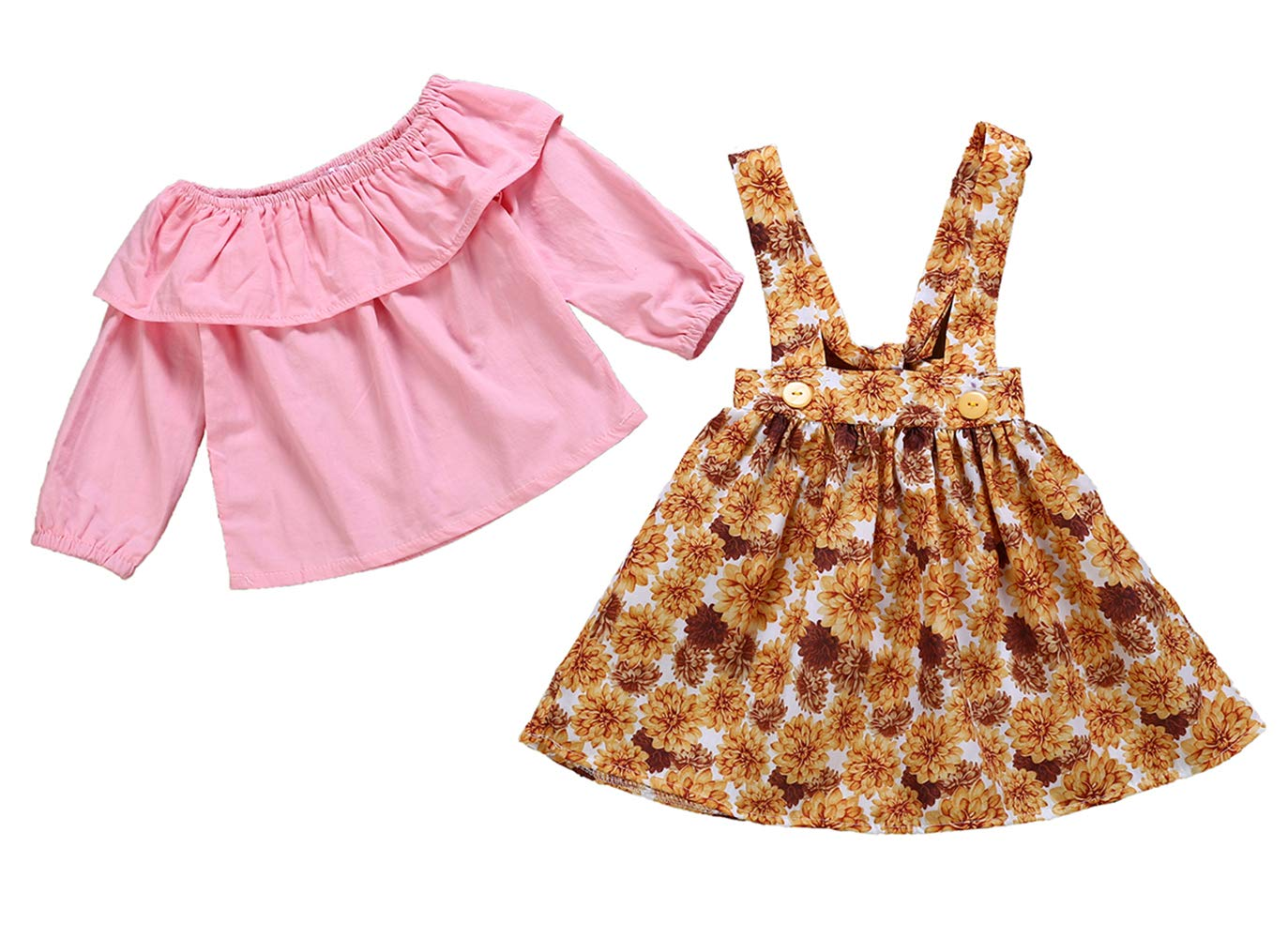 LOliSWan 2Pcs Infant Toddler Baby Girls Summer Boho Floral Rompers Jumpsuit Strap Skirt Overall Dress Outfits Set (Pink, 12-18 Months)