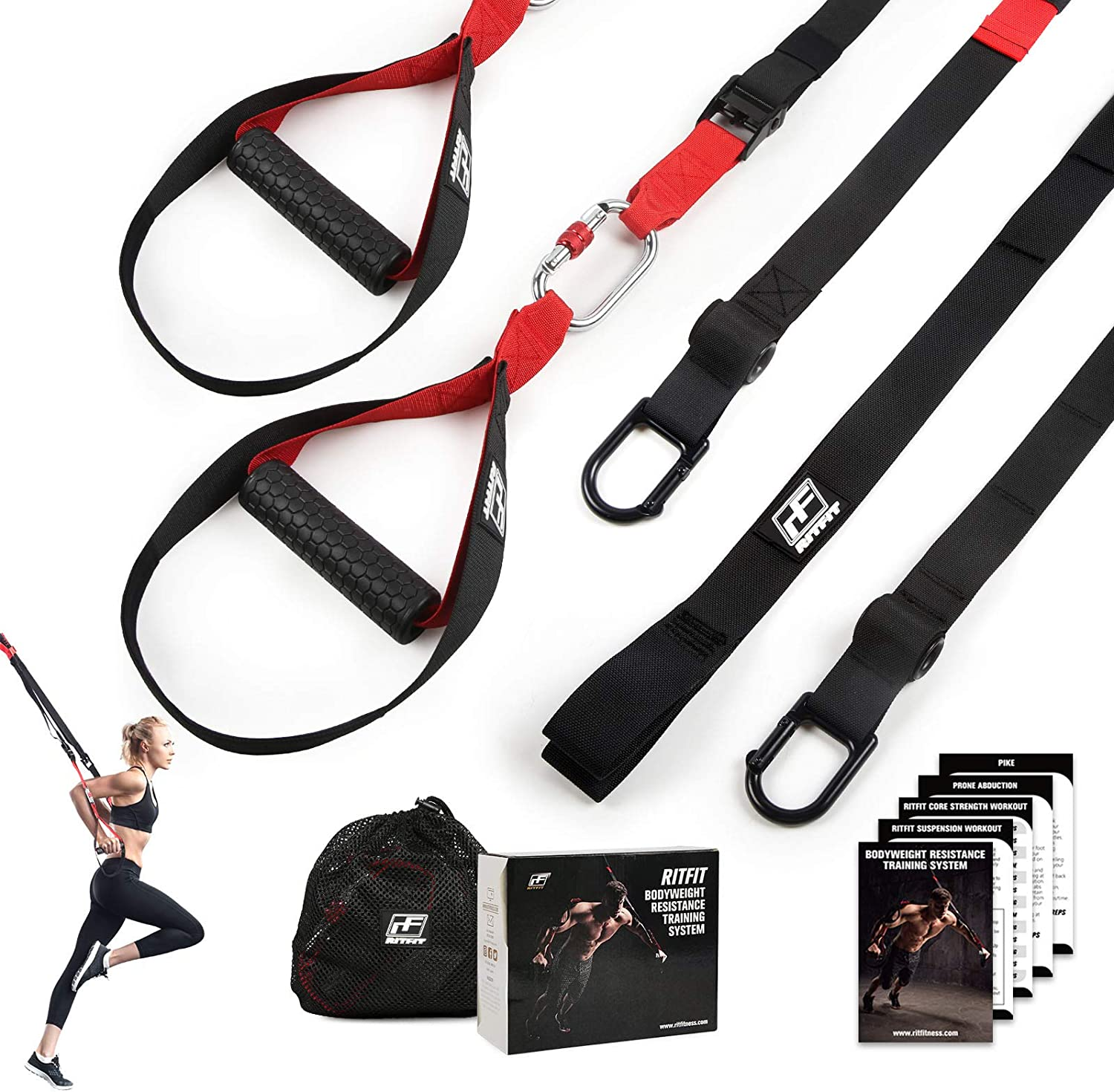 RitFit Bodyweight Resistance Training Kit with Integrated Door Anchors and Extension Strap, Fitness Straps for Total Body Workouts, Home & Travel, Workout Guide Included