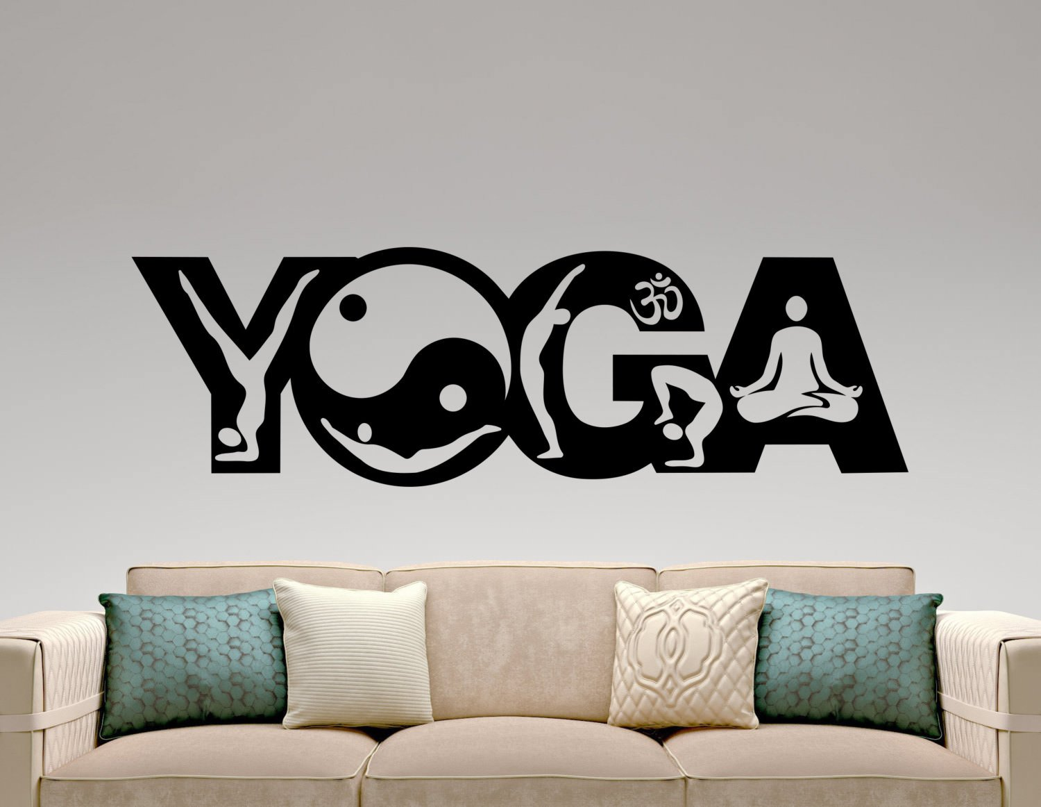 Buy cvanu yoga wall sticker vinyl decal home interior design yoga studio decor bedroom wall decal murals logo design waterproof stickers online at low